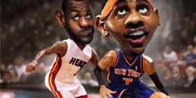 Caricatura de Carmelo Anthony y Lebron James