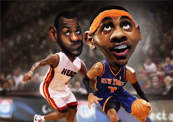 Caricatura de Carmelo Anthony y Lebron James