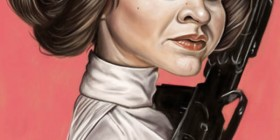 Caricatura de Carrie Fisher como Princesa Leia