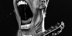 Caricatura de James Hetfield cantante de Metallica