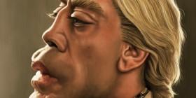 Caricatura de Javier Bardem como Silva en Skyfall