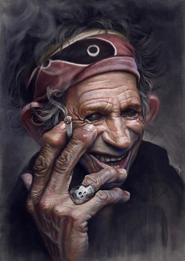 Caricatura de Keith Richards