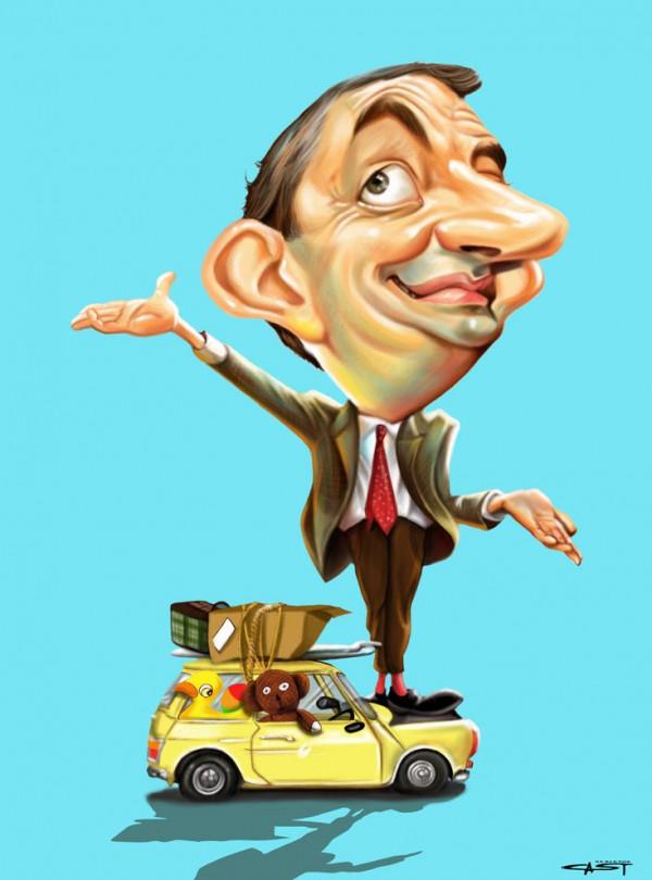 Caricatura de Rowan Atkinson - Mr. Bean