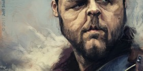 Caricatura de Russell Crowe en Gladiator