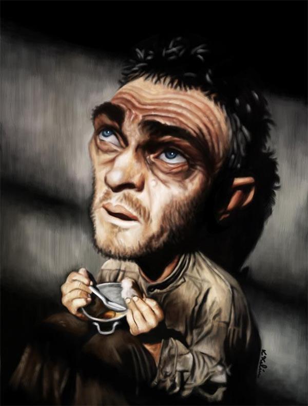 Caricatura de Steve McQueen como Henri Charrière en Papillón
