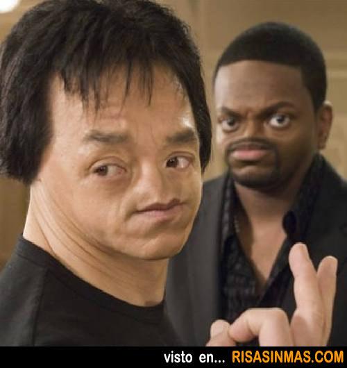 Chris Tucker y Jackie Chan sin nariz