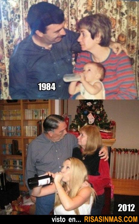Foto familiar con el paso de los años
