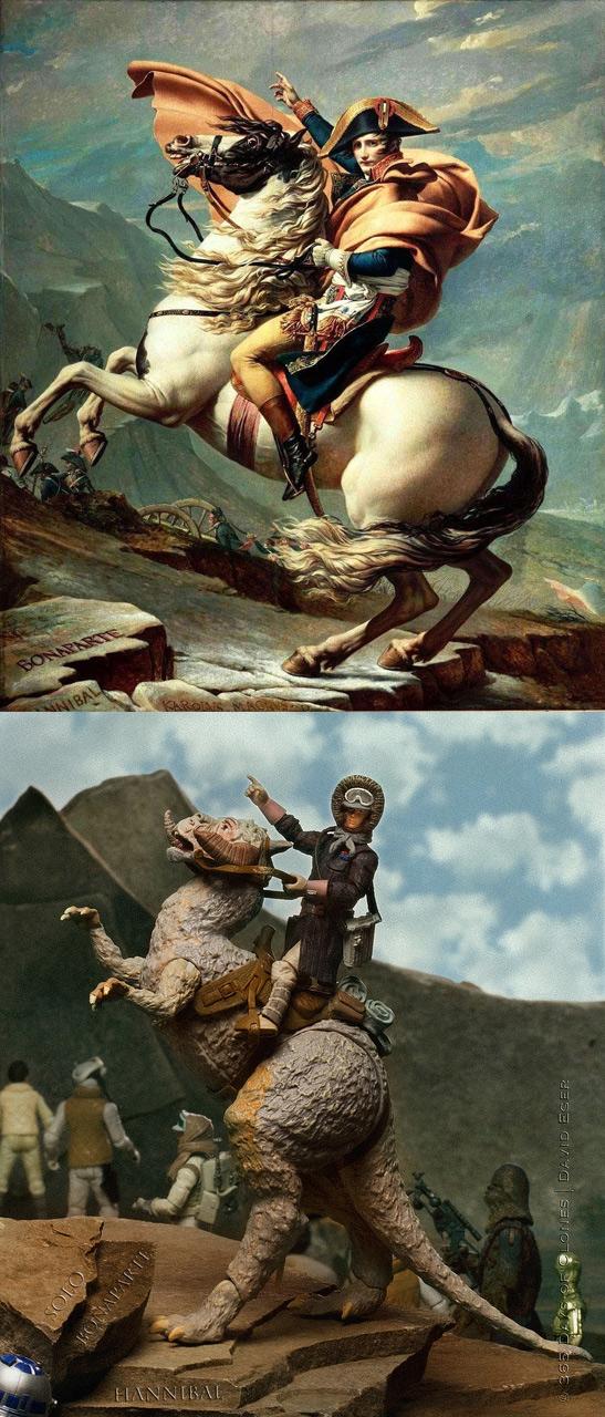Napoleón cruzando los Alpes clonificado
