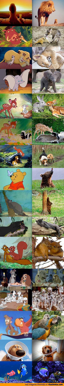 Personajes de las películas de Disney en el mundo real