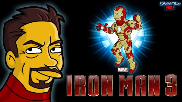 Póster Iron Man 3 simpsonizado