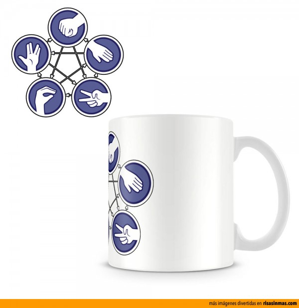 Tazas originales: The Big Bang Theory. Piedra, papel, tijera, lagarto y spock