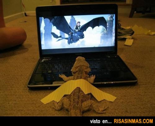 Una pogona fan de la película Cómo entrenar a tu dragón 2