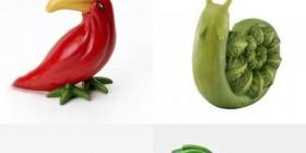 Animales hechos con frutas y verduras