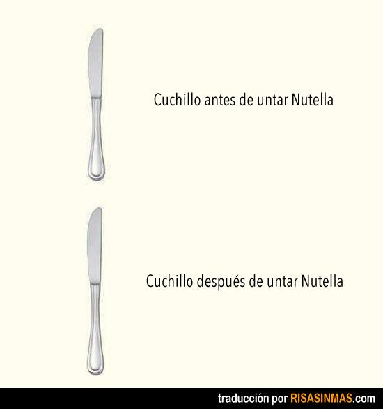Cuchillo antes y después de Nutella