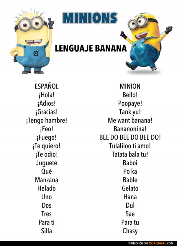 Lenguaje banana de los Minions