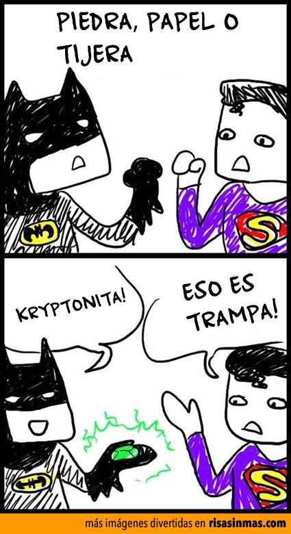 Batman jugando con Superman
