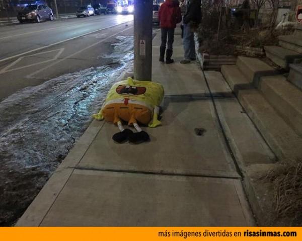 Bob Esponja después de salir de fiesta