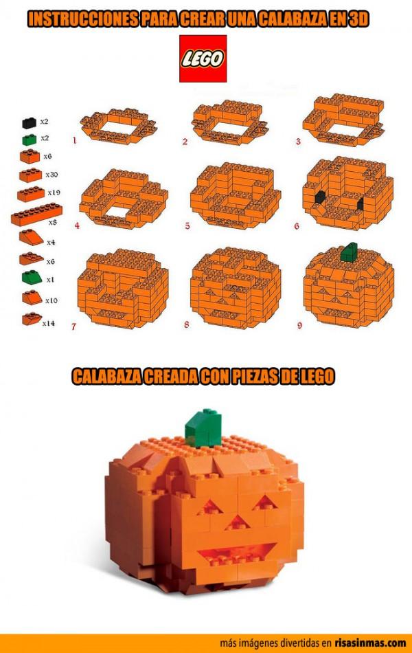 Calabaza de Halloween hecha con LEGO