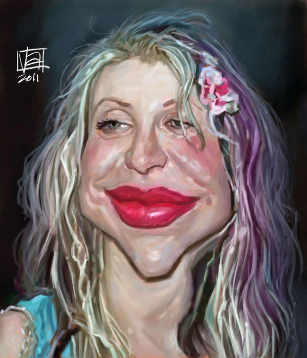 Caricatura de Courtney Love