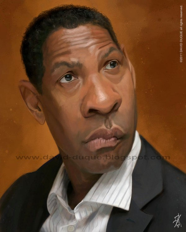 Caricatura de Denzel Washington