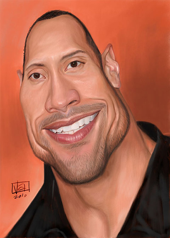 Caricatura de Dwayne Johnson (The Rock)