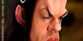 Caricatura de Hugo Weaving como Elrond