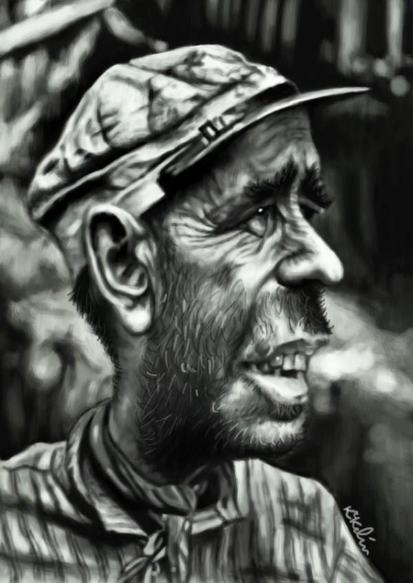 Caricatura de Humphrey Bogart como Charlie Allnut en La Reina de África