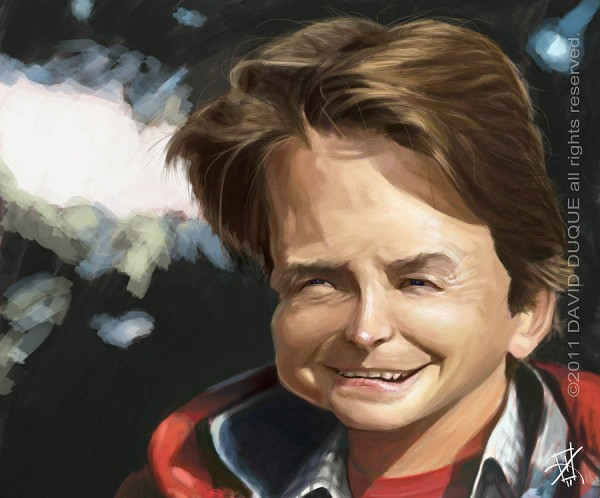 Caricatura de Michael J. Fox