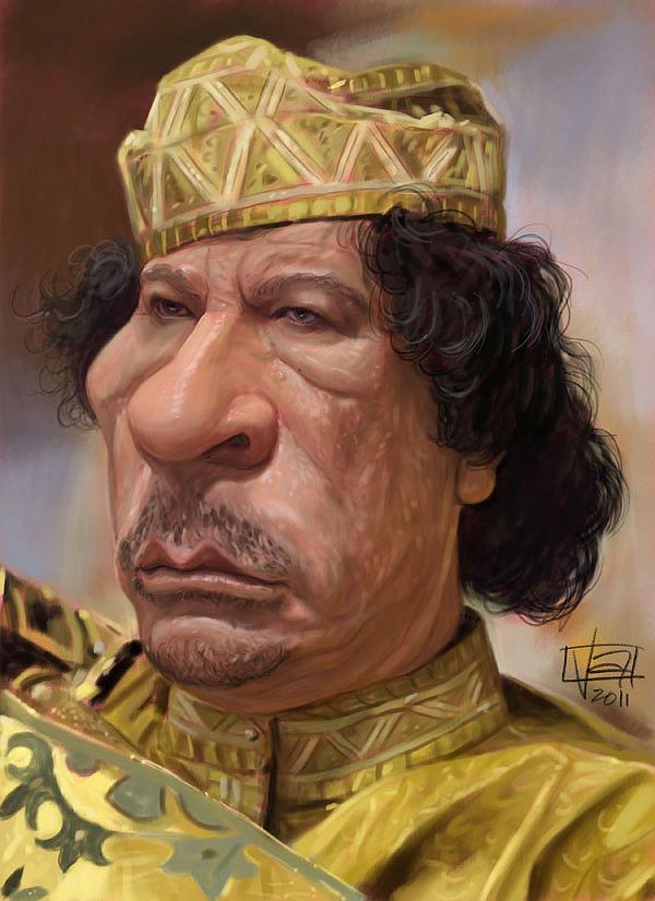 Caricatura de Muamar el Gadafi