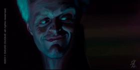 Caricatura de Rutger Hauer escena de Blade Runner