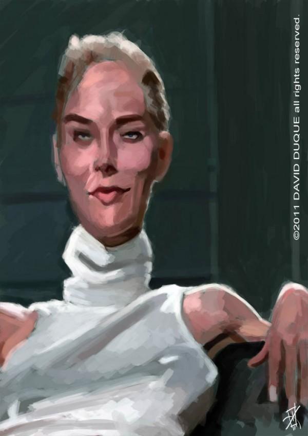 Caricatura de Sharon Stone en Instinto básico