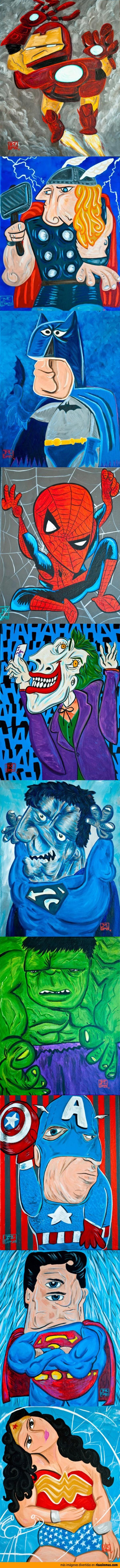 Superhéroes pintados estilo Picasso