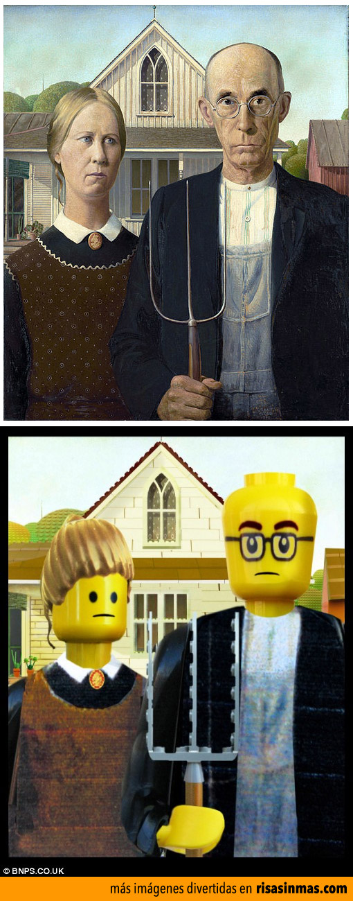 Cuadros famosos hechos con LEGO: Gótico estadounidense