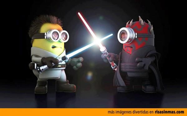 Duelo entre Obi-Wan Kenobi vs Darth Maul versión Minions