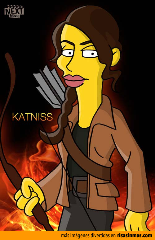 Katniss de Los juegos del hambre simpsonizada