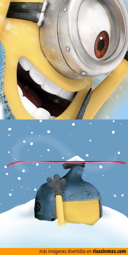 Minion aprendiendo a esquiar