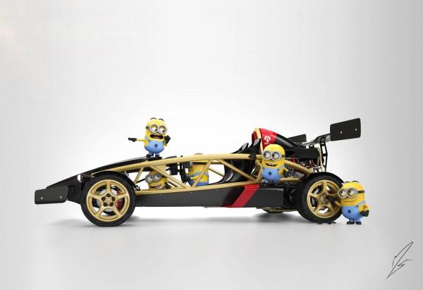 Minions preparando su coche de Grid 2