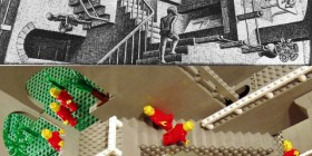Obra Relativity de Escher hecho con LEGO