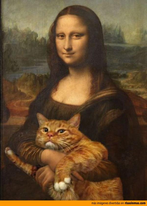 Versiones divertidas de La Mona Lisa: con su gato