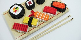 Apetitoso plato de sushi hecho con LEGO