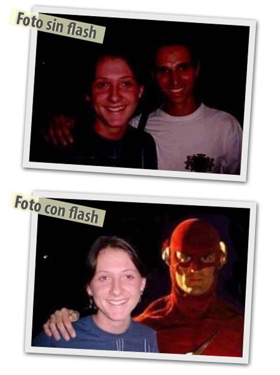 Foto sin y con flash