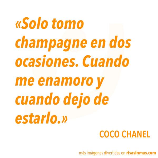 Sólo tomo champagne en dos ocasiones