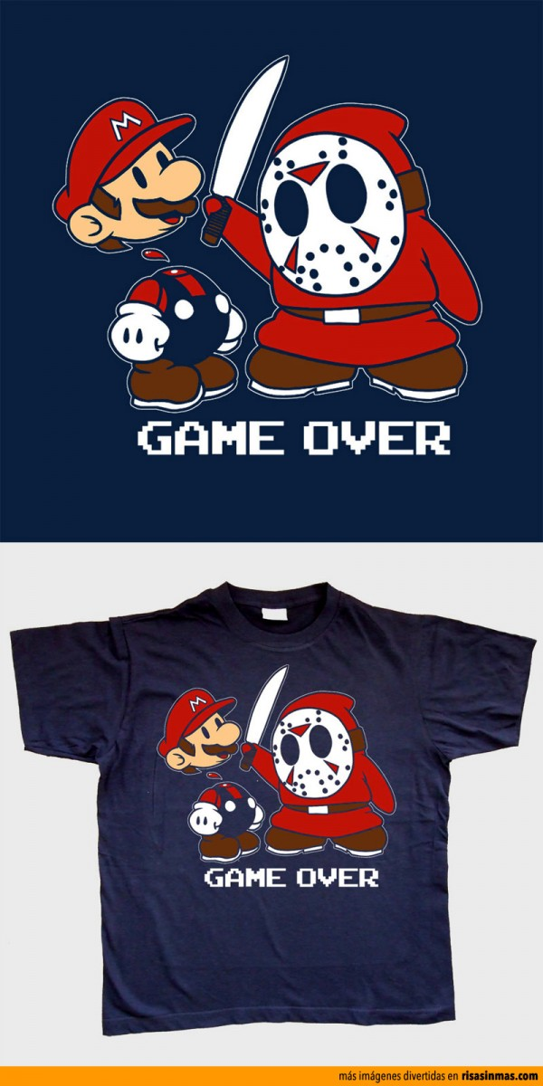 Camiseta Super Mario Bros vs Jason Voorhees
