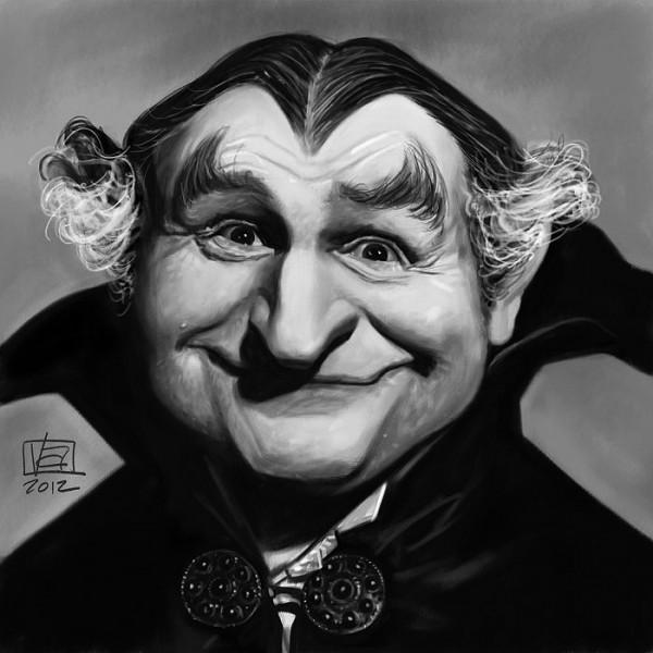 Caricatura de Al Lewis en La Familia Monster