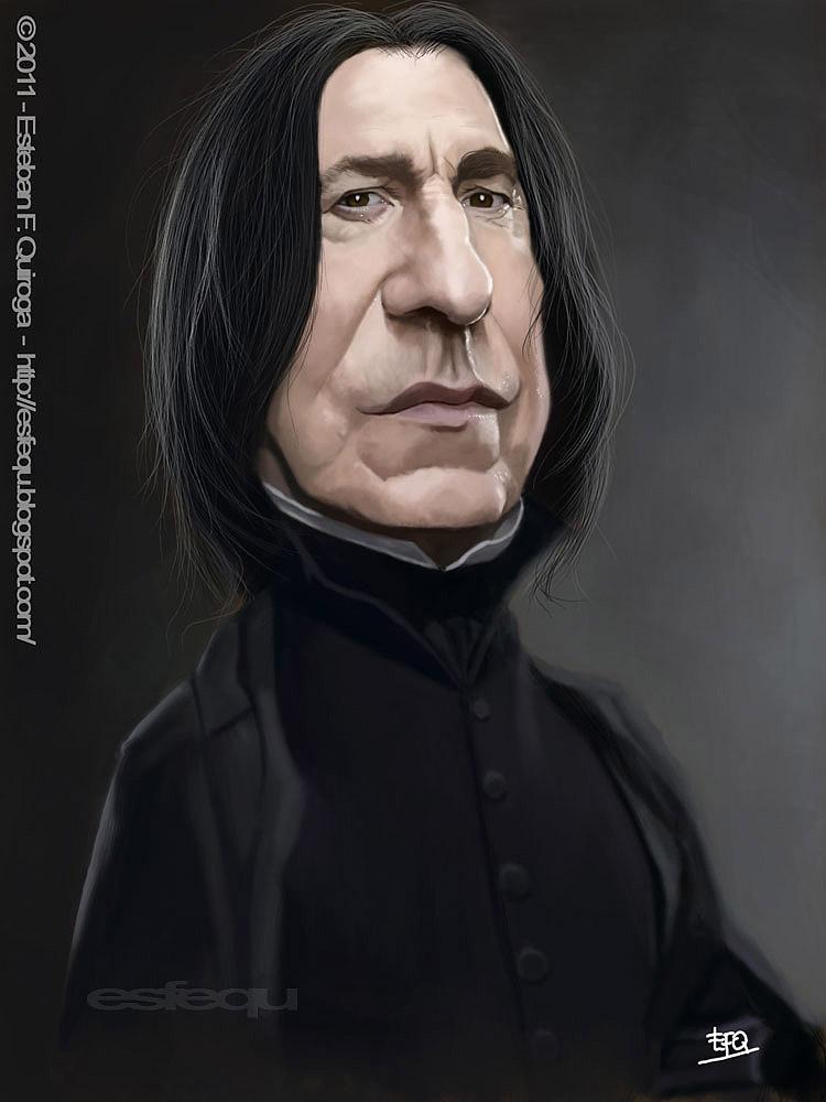 Caricatura de Alan Rickman como Severus Snape
