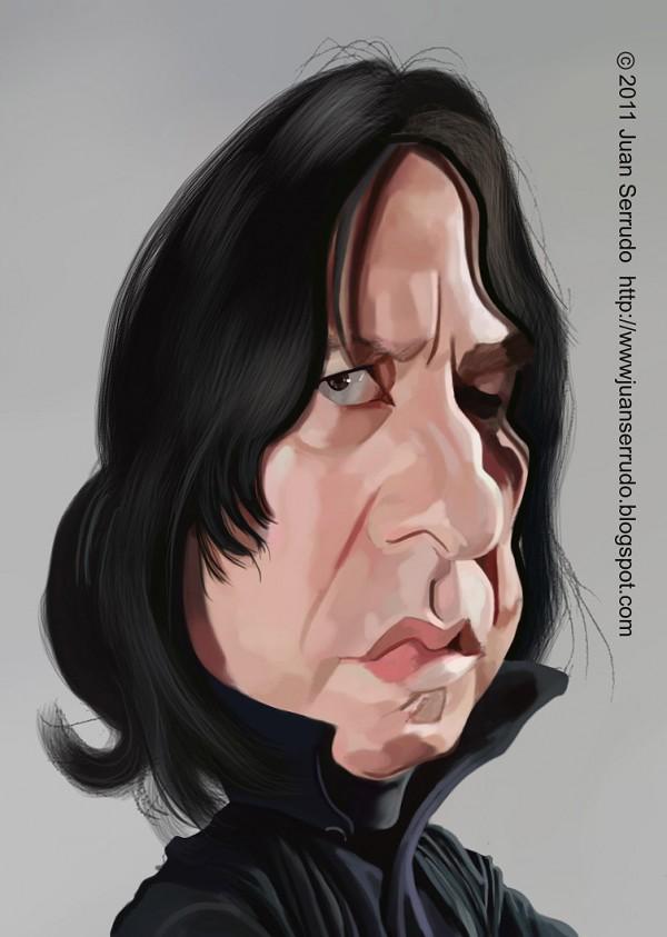 Caricatura de Alan Rickman en Harry Potter