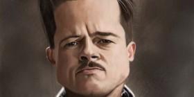 Caricatura de Brad Pitt en Malditos bastardos