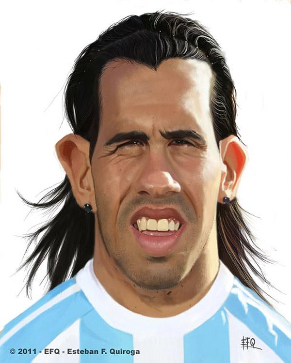 Caricatura de Carlos Tévez