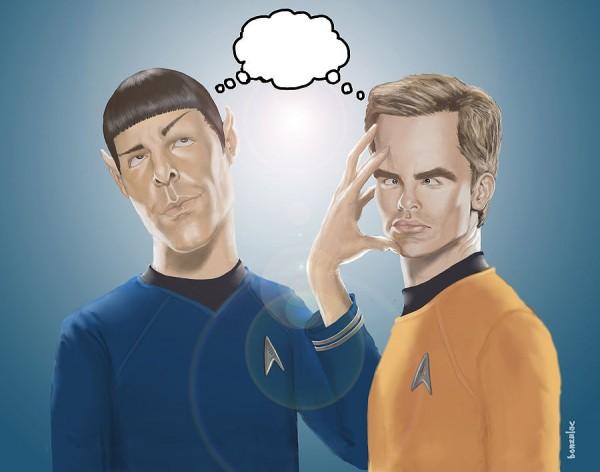 Caricatura de Chris Pine y Zachary Quinto en Star Trek