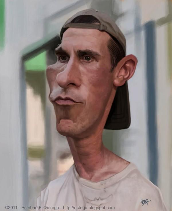 Caricatura de Christian Bale en The Fighter